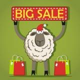Santa Sheep met Grote Verkoopbanner Stock Foto
