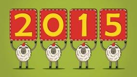 Santa Sheeps met 2015 banners Stock Afbeeldingen