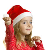 Santa shild girl isolated o white. Royalty Free Stock Photo