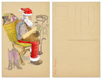 Santa shoemaker. Design Christmas cards on a Christmas theme. Santa Claus as a master of all trades and fulfilled dreams. Here as a shoemaker. Hand drawing Stock Image