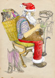 Santa shoemaker. Santa Claus as a shoemaker - makes shoes for all who desire them. Full-sized (original) hand drawing (useful for live trace converting for the Royalty Free Stock Photo