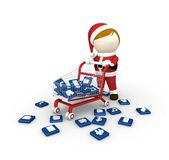Santa with shopping cart. Stock Photos