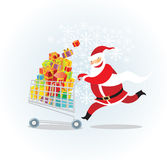 Santa on a shopping spree Stock Photos