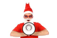 Santa Shouting Through Megaphone Royalty Free Stock Photo