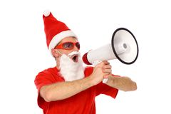 Santa Shouting Through Megaphone Stock Image