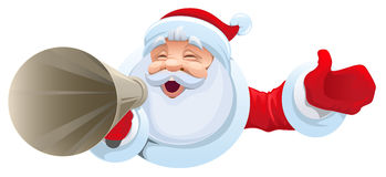 Santa shouts into megaphone. Christmas sale Royalty Free Stock Image