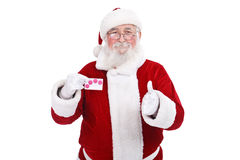 Santa showing credit card Royalty Free Stock Photos