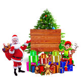 Santa showing a wooden gift box Royalty Free Stock Photography