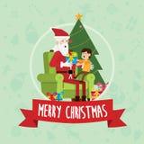 Santa siedzi z dzieckiem w święto bożęgo narodzenia Fotografia Royalty Free