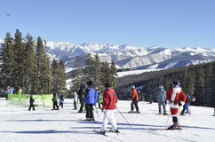 Santa Sighting; A Christmas Miracle, Beaver Creek, Vail Resorts, Avon, Colorado. Snow day, Dream Vacation, Best Resort ever, Santa-on-snow-skies, Rocking the Stock Image