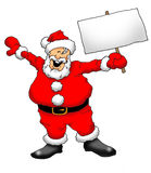 Santa With Sign. Image of an excited Santa holding a blank sign Stock Photos