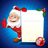 Santa with Sign. Funny Santa Claus holding Speacial Sale Sign Stock Photo