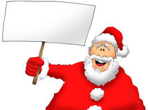 Santa With a Sign. Cartoon Image of Santa Holding a Blank Sign Stock Photo