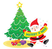 Santa with sign Stock Photo