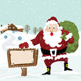 Santa with Sign royalty free illustration