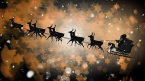 Santa silhouette in sleigh with reindeer flying with magical stars. Digital composite of Santa silhouette in sleigh with reindeer flying with magical stars stock illustration