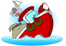 Santa On A Sinking Boat royalty free illustration