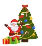 Santa Sits feliz em caixas de presente decorou a árvore do Xmas Imagem de Stock