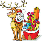 Santa sits on a reindeer drags sleigh Stock Images