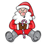 Santa sitting. With candy cane vector illustration