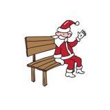 Santa sitting on bench says hi  Stock Images
