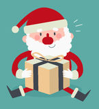Santa Sitting bonito e guardar um presente Ilustração Royalty Free