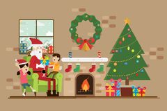 Santa is sitting with a child in the Christmas day. In fireplace room vector Royalty Free Stock Photo