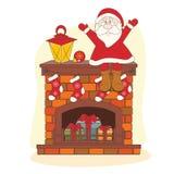 Santa sitting on chimney. Stock Photography