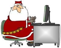 Santa Sitting At A Computer. This illustration depicts Santa Claus using a computer Royalty Free Stock Photography