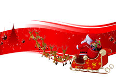 Santa is sitting in his sleigh on red background Stock Photos