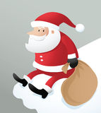 Santa sitting on ice roof Royalty Free Stock Photos