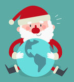Santa Sitting sveglia e tenere il mondo Immagine Stock Libera da Diritti