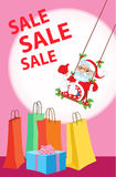 Santa sitting on a swing with mistletoe and rolls sale gifts. Vector illustration Christmas sale Stock Image
