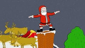 Santa Skacze W komin ilustracja wektor