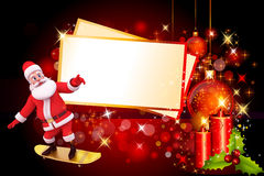 santa skate on red background with big cards Stock Images