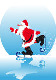 Santa on skates Royalty Free Stock Photos