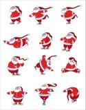 Santa Skating. Different characters and poses of funny Santa vector illustration