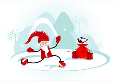 Santa is skating. In forest Royalty Free Stock Image