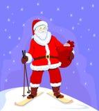 Santa on ski. With presents Stock Photos