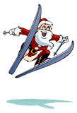 santa ski on isolated white Stock Photos