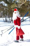Santa with skies Stock Image