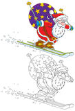 Santa skiing with Christmas gifts. Santa Claus skis down with his bag of presents, color and black-and-white outline illustrations stock illustration