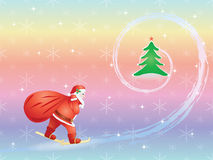 Santa skiing to Christmas tree Royalty Free Stock Photography