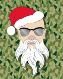 Santa skinhead on camouflage background Stock Image