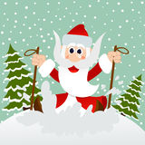Santa on skis Stock Photo