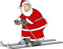 Santa on skis Stock Images