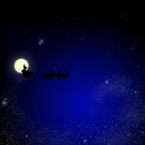 Santa on sky christmas background Royalty Free Stock Photo
