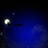 Santa on sky christmas background Royalty Free Stock Photo