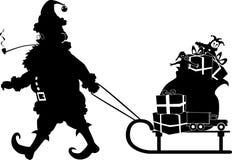 santa sled royaltyfri illustrationer
