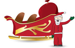 Santa and sled. Santa Claus in red waving standing next to sled with a bag full of gifts Stock Image
